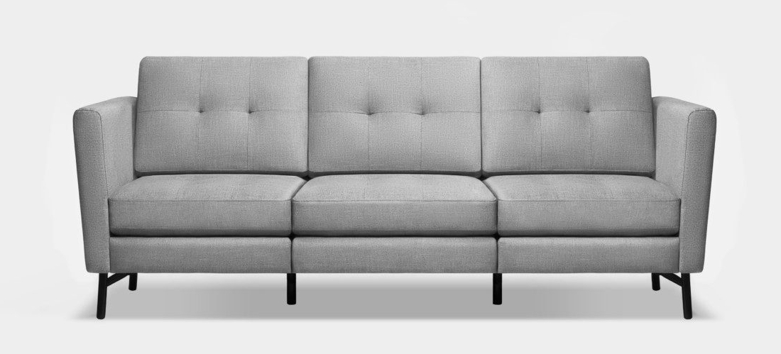 Burrow 3 seater sofa with tufted cushions and high arms